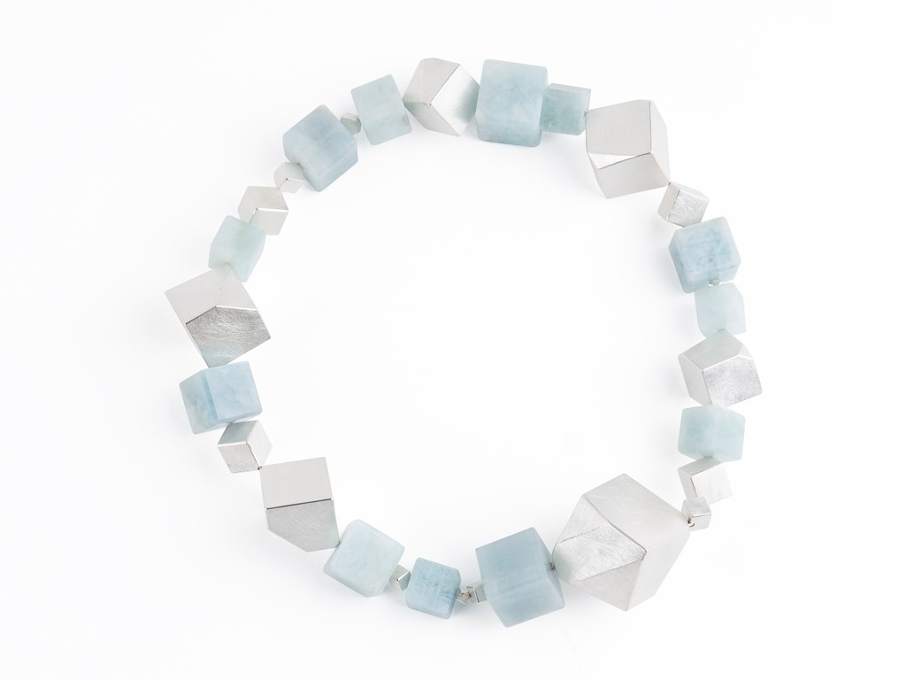 Necklace aquamarine cubes, sterling silver