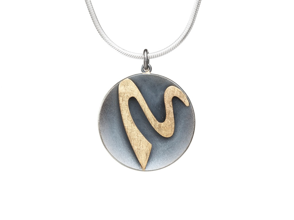 Pendant oxidized sterling silver, 18kt yellow gold, snake chain